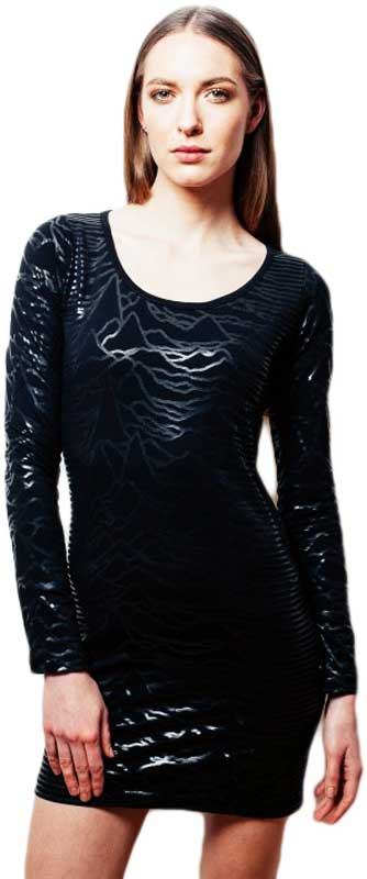 Worn By Unknown Pleasures bodycon φόρεμα μαύρο