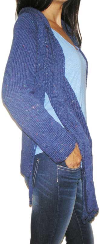 Agel Knitwear γυναικεία ασύμμετρη πλεκτή κρουαζέ ζακέτα ίντιγκο