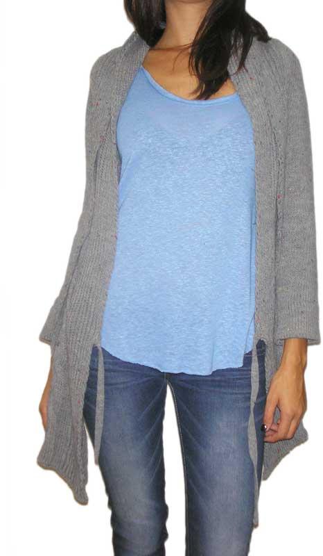 Agel Knitwear γυναικεία ασύμμετρη πλεκτή κρουαζέ ζακέτα γκρι