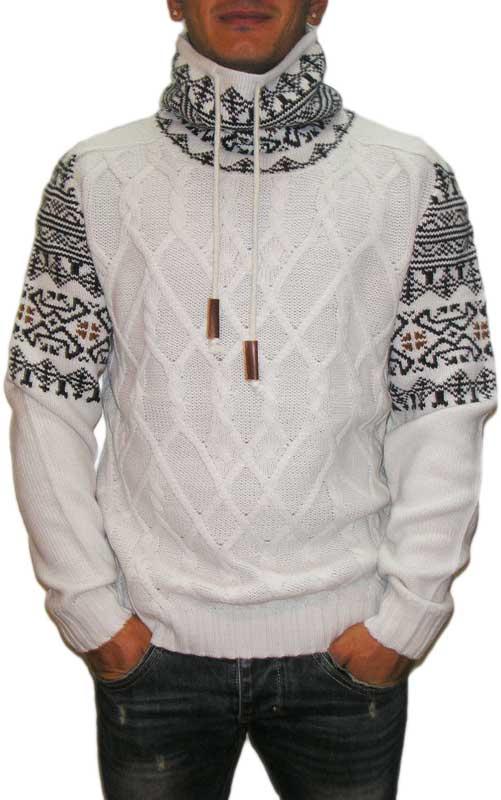 Ανδρικό ζακάρ πουλόβερ λευκό