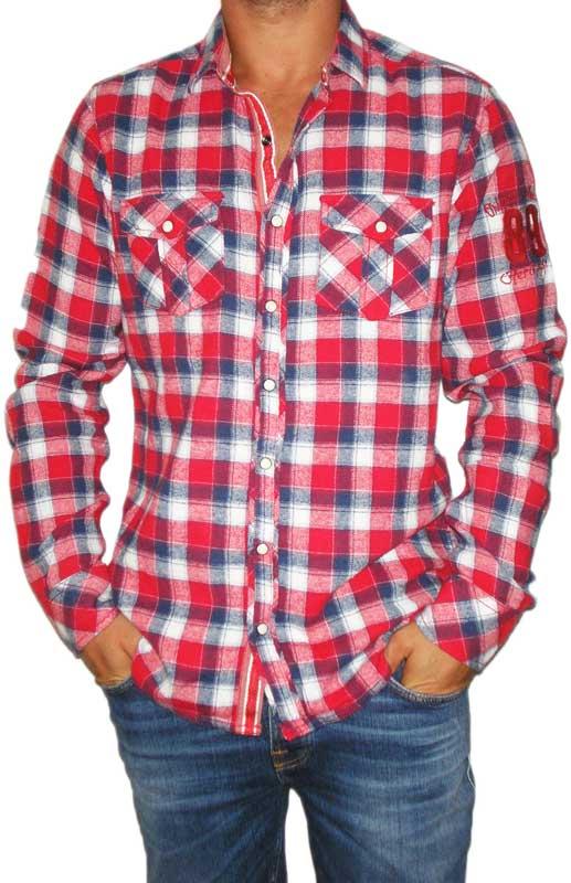 Ανδρικό κόκκινο καρό πουκάμισο φανέλα