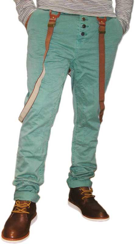 Ανδρικό πράσινο βαμβακερό chino παντελόνι με τιράντες