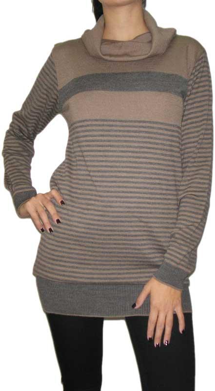 Agel Knitwear ριγέ πλεκτό μπλουζοφόρεμα με ντραπέ λαιμό