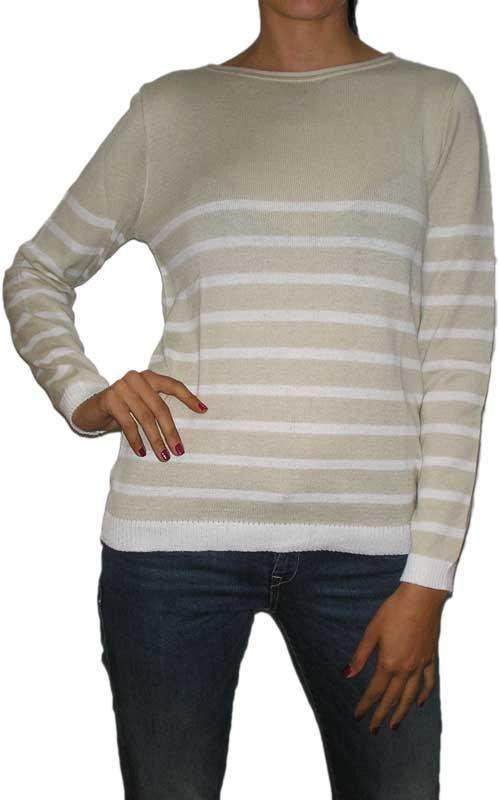 Agel Knitwear πλεκτή ριγέ μπλούζα μπεζ