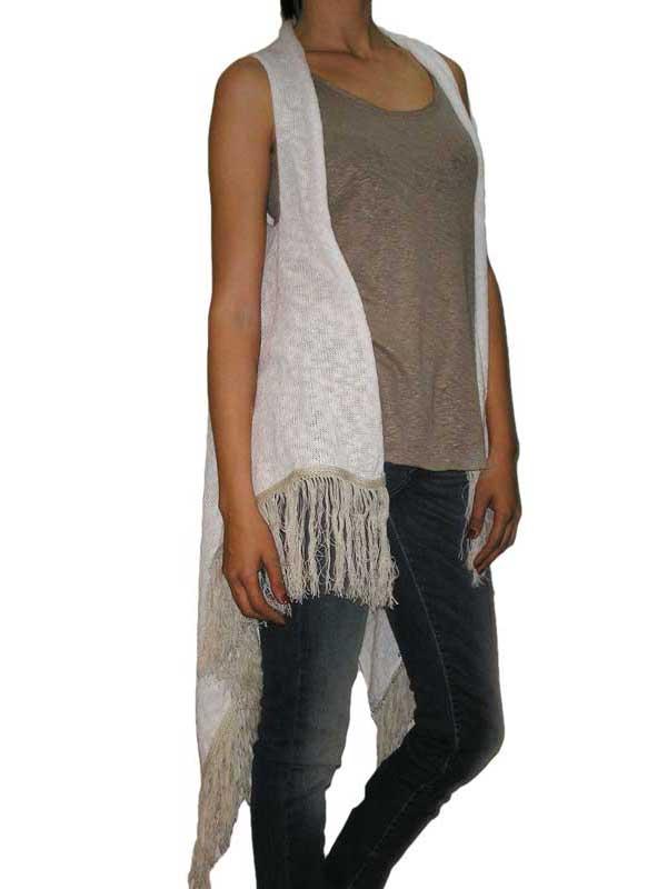 Agel Knitwear πλεκτή αμάνικη ζακέτα λευκή με κρόσια