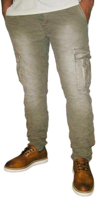 Ανδρικό slim fit cargo παντελόνι χακί ξεβαμμένο ανδρικα   παντελόνια