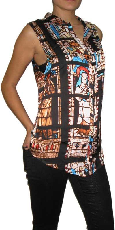 Raphael γυναικείο αμάνικο πουκάμισο βιτρώ - re-645417