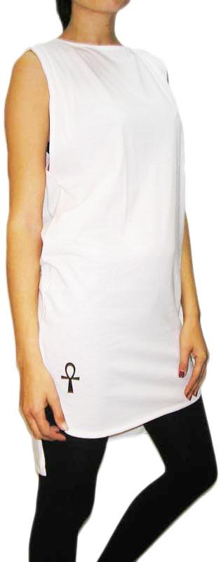 Maison Bastet αμάνικη super μακριά μπλούζα σε λευκό