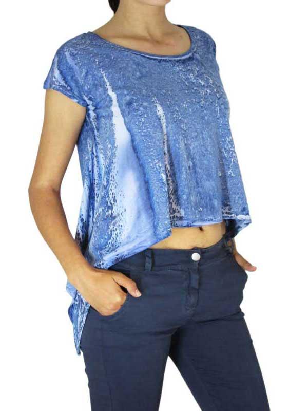 Bigbong γυναικείο ασύμμετρο crop top με μπλε marble πριντ