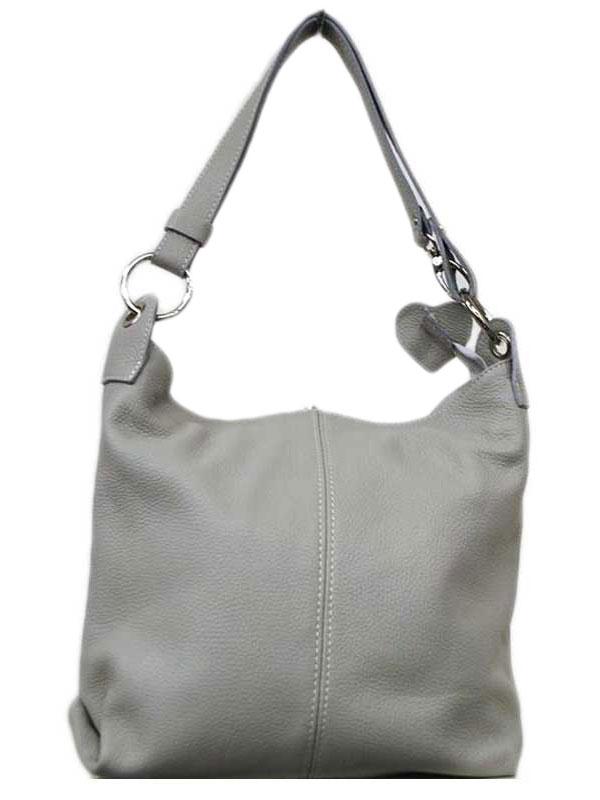 eb3bd01394 Γυναικεία δερμάτινη τσάντα ώμου σε ανοιχτό γκρι