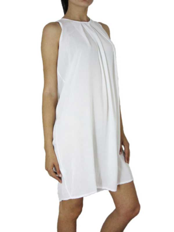 Αμάνικο ριχτό φόρεμα σε λευκό γυναικεια     φορέματα