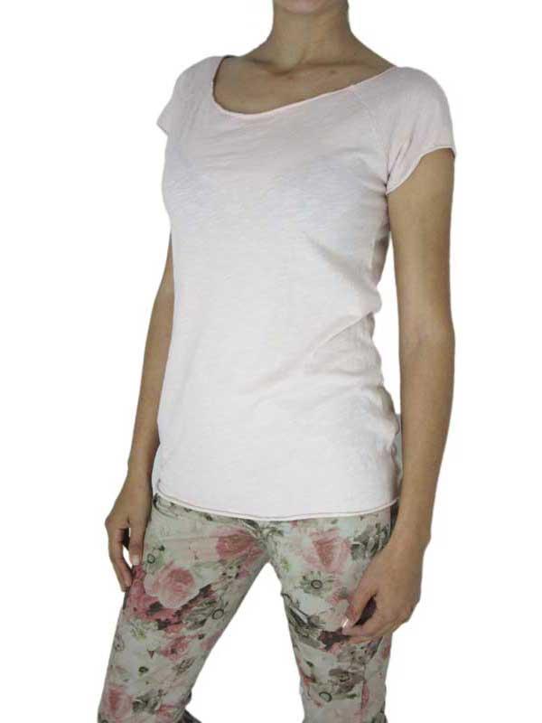 Γυναικεία μπλούζα φλάμα παλ ροζ με κοντό μανίκι - per-80-pi