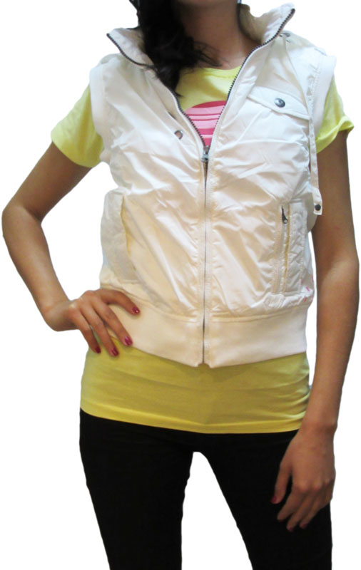 4cadb1bb87 Γυναικείο nylon αμάνικο κοντό μπουφάν λευκό - 25-102-005-wh