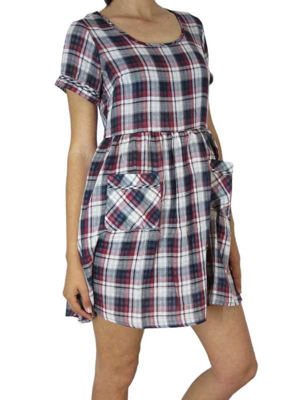 Bellfield καρό κοντομάνικο φόρεμα Danica - 612515