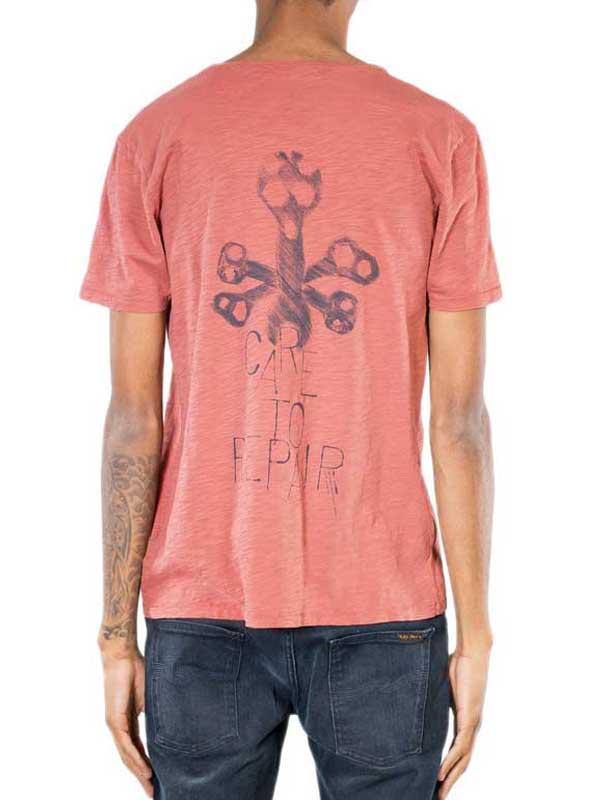 Nudie Jeans ανδρικό t-shirt Organic Repair Tool κόκκινο