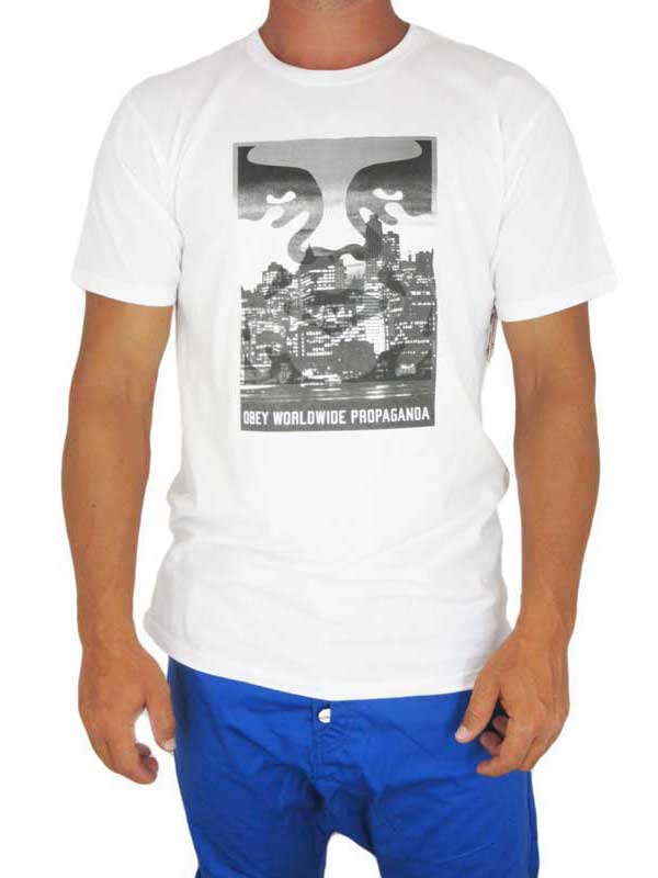 Obey ανδρικό T-shirt Nightwatch λευκό - 163560719-wh