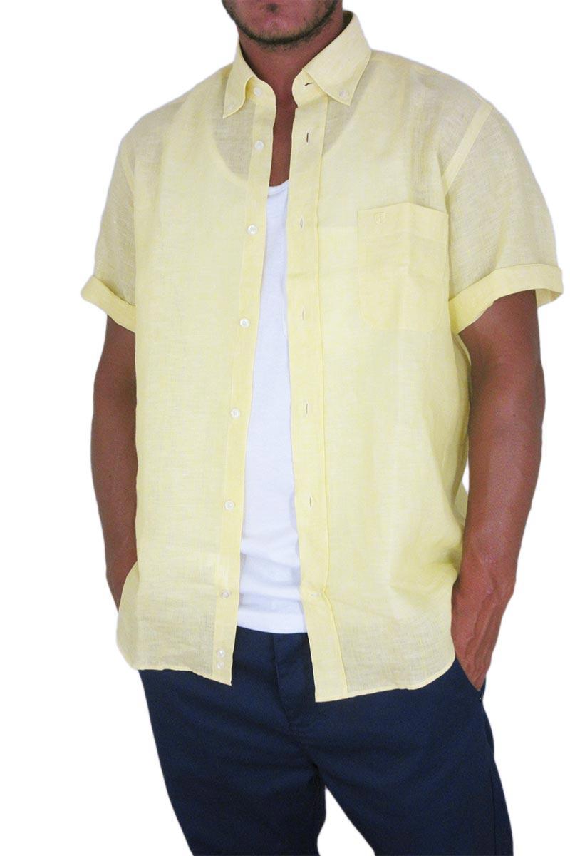 Ανδρικό λινό πουκάμισο Jazzy Balli κίτρινο
