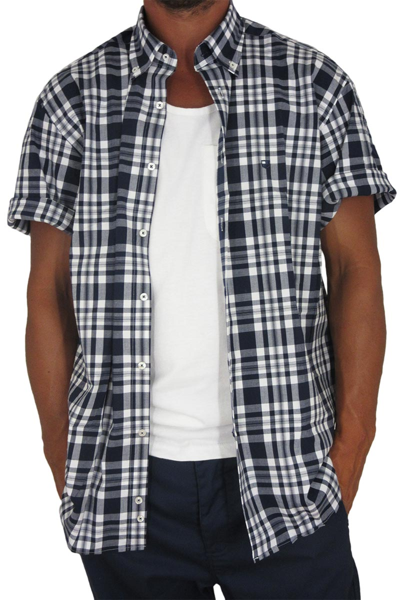 2b9203fcc503 Jazzy ανδρικό πουκάμισο καρό σκούρο μπλε-λευκό Massimo