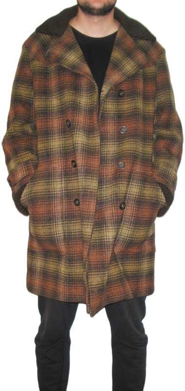 Energie ανδρικό μάλλινο σταυρωτό παλτό σε καφέ καρό 708cccdfda7