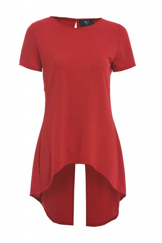 Γυναικεία κόκκινη μακριά μπλούζα με σκίσιμο πίσω fc4c414aa19
