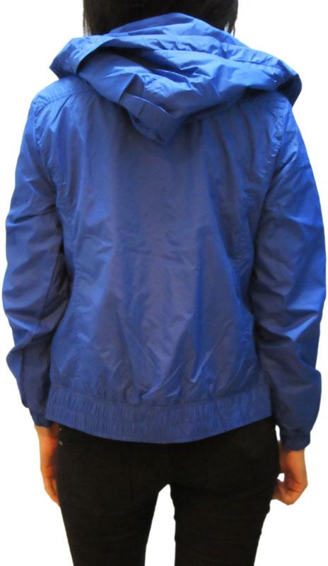 Γυναικείο nylon μπουφάν μπλε ρουά με κουκούλα