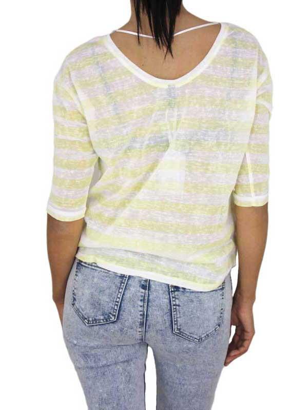 Women's breton stripe yellow top