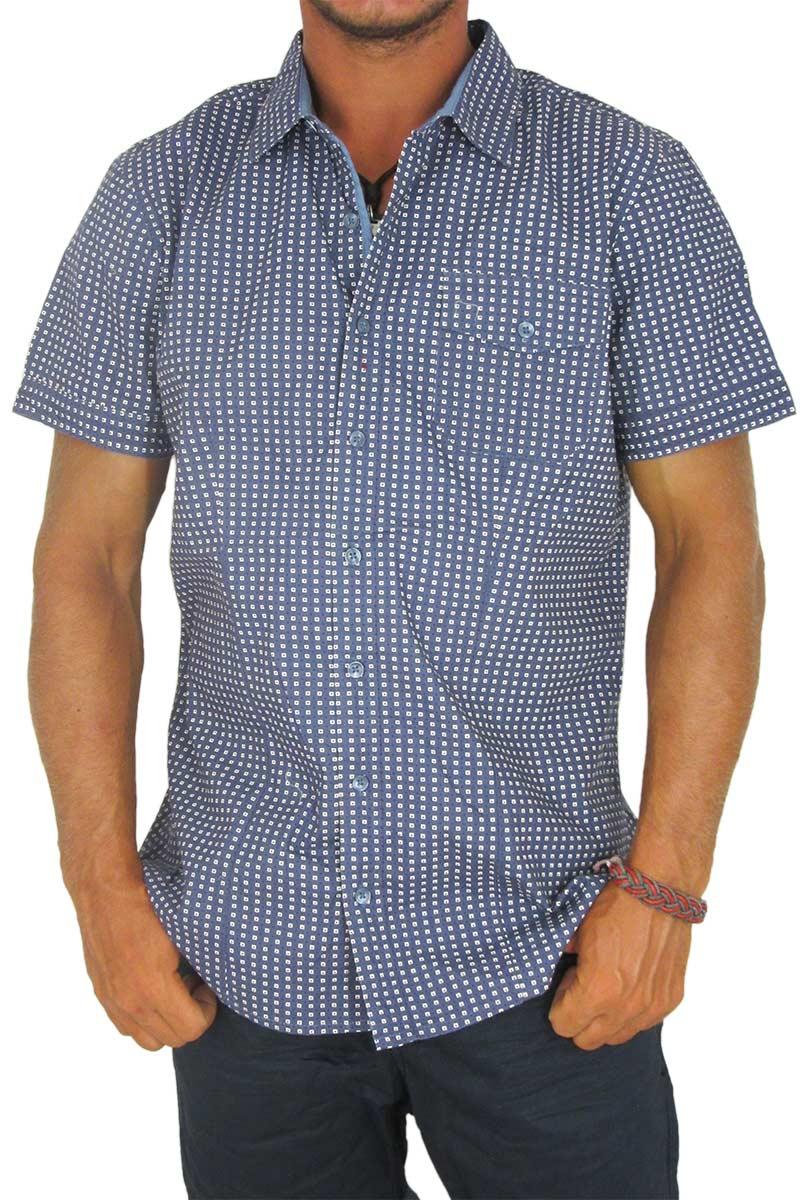 Ανδρικό πουκάμισο μπλε με πριντ τετραγωνάκια και πουά - 10427-bl