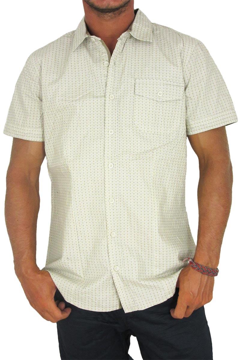 Ανδρικό πουκάμισο εκρού με πριντ τετραγωνάκια και πουά - 10427-ec