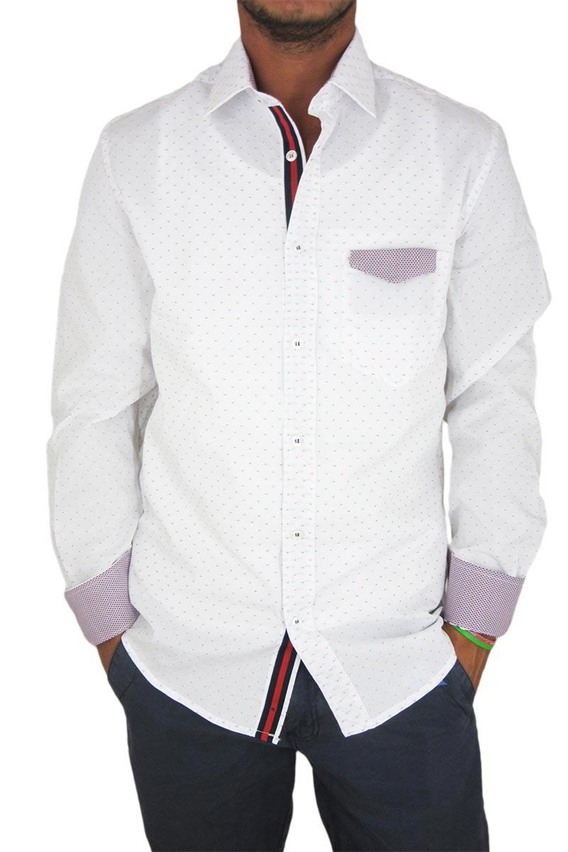 Missone ανδρικό ζακάρ πουκάμισο λευκό με τσέπη