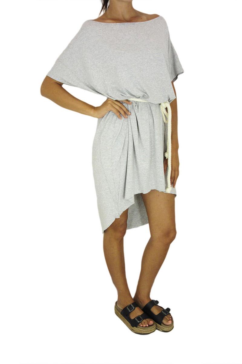 Tag γυναικείο ασύμμετρο φόρεμα Colette γκρι μελανζέ με ζώνη σχοινί γυναικεια     φορέματα
