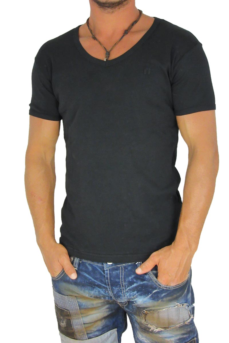 4b83f9bc1e5 Ανδρικό t-shirt ριπ ζέρσεϋ μαύρο με V λαιμόκοψη