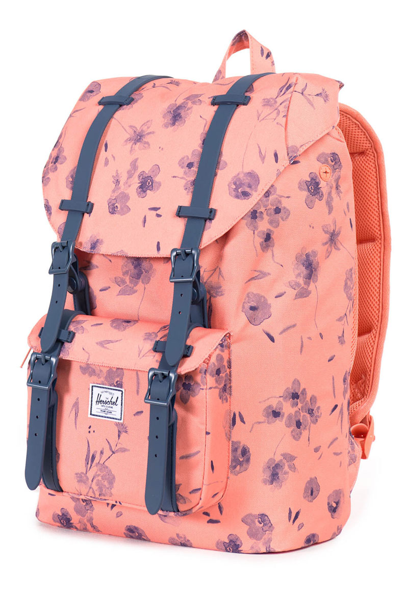 b7986554d29 Herschel Supply Co. Little america mid volume backpack ruby burnt  coral navy Rubber