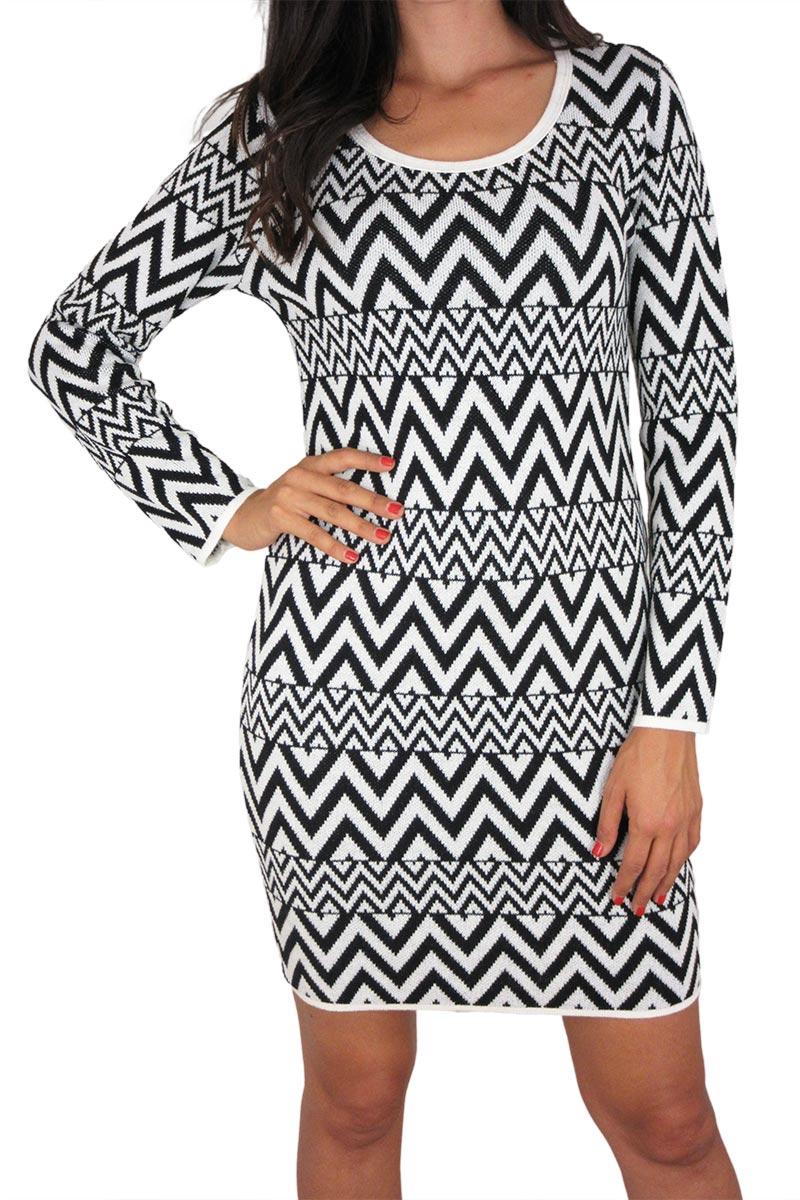 Agel Knitwear πλεκτό ζακάρ φόρεμα λευκό-μαύρο