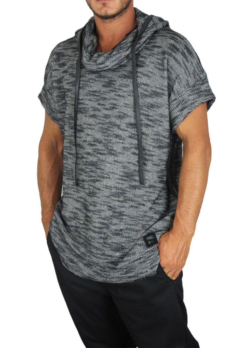 Ανδρικό πλεκτό μελανζέ longline t-shirt με κουκούλα Leonard γκρι σκούρο