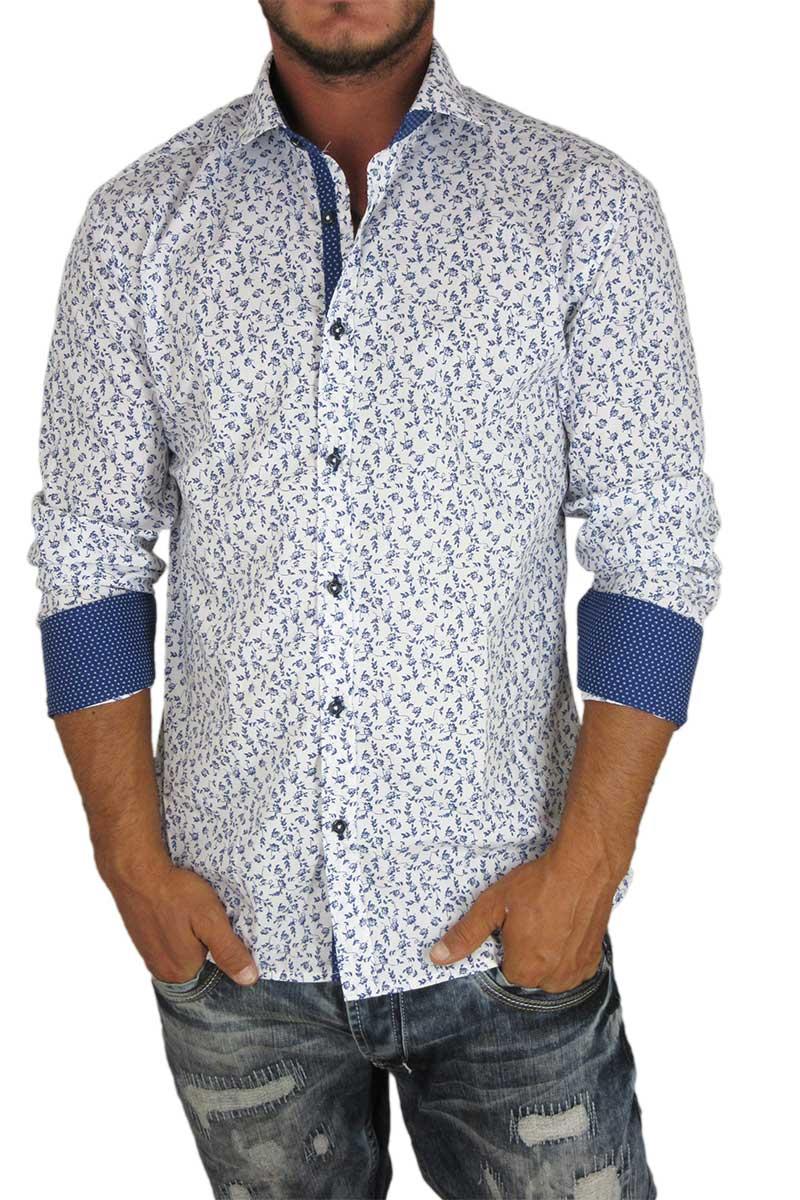Ανδρικό πουκάμισο slim fit λευκό με μπλε φλοράλ 6c5f59c2f23