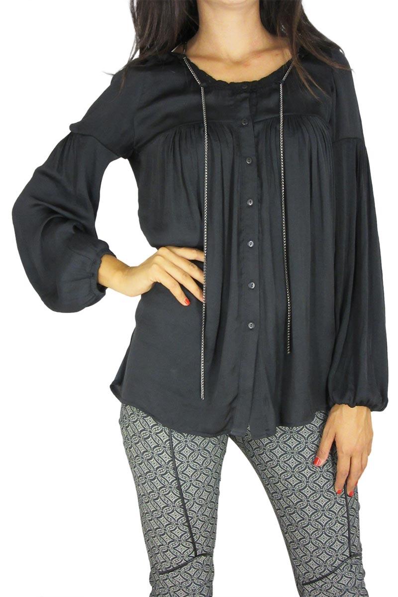 b83173e36b2f Γυναικείο πουκάμισο χωρίς γιακά Joyce μαύρο - oz-7524