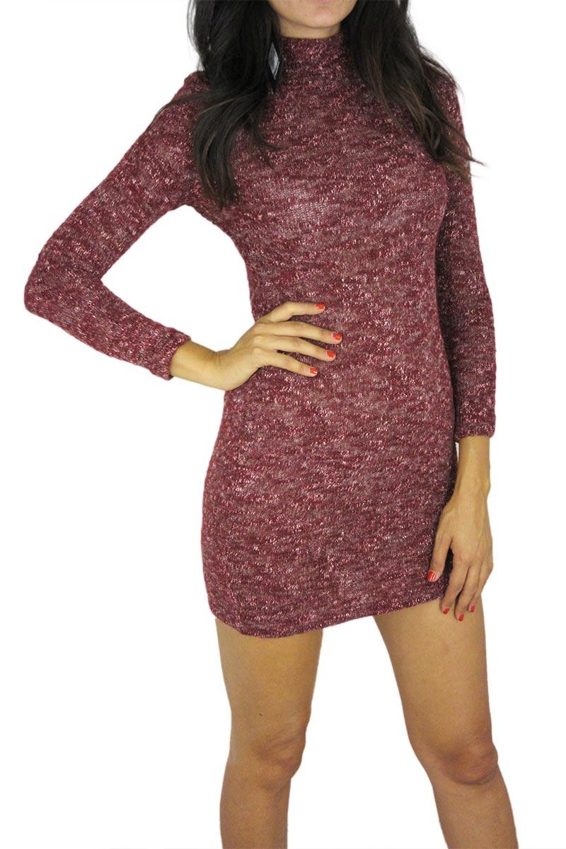 Εφαρμοστό τουίντ πλεκτό μίνι φόρεμα μπορντό γυναικεια     πλεκτά