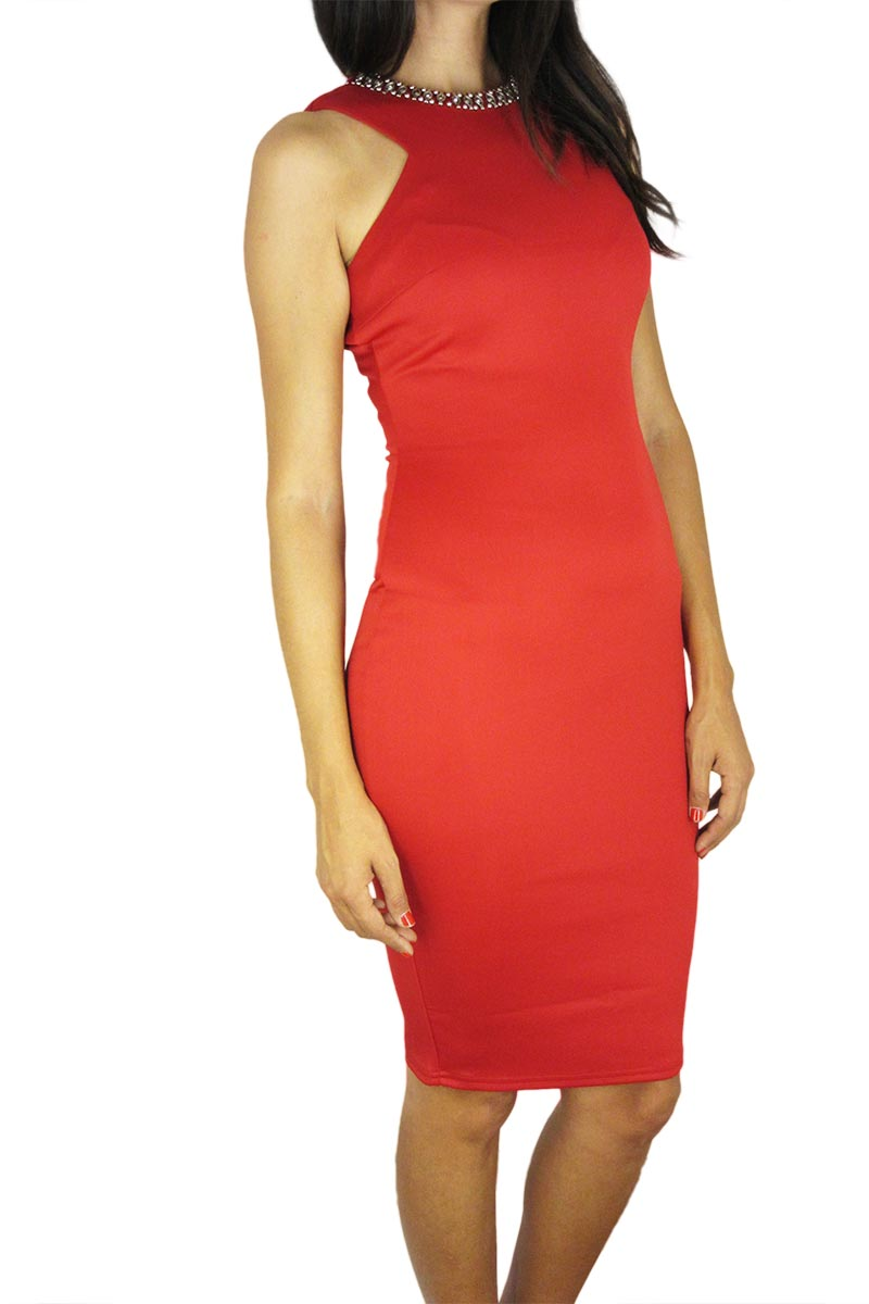 Εφαρμοστό φόρεμα κόκκινο διακοσμημένο στο λαιμό γυναικεια     φορέματα