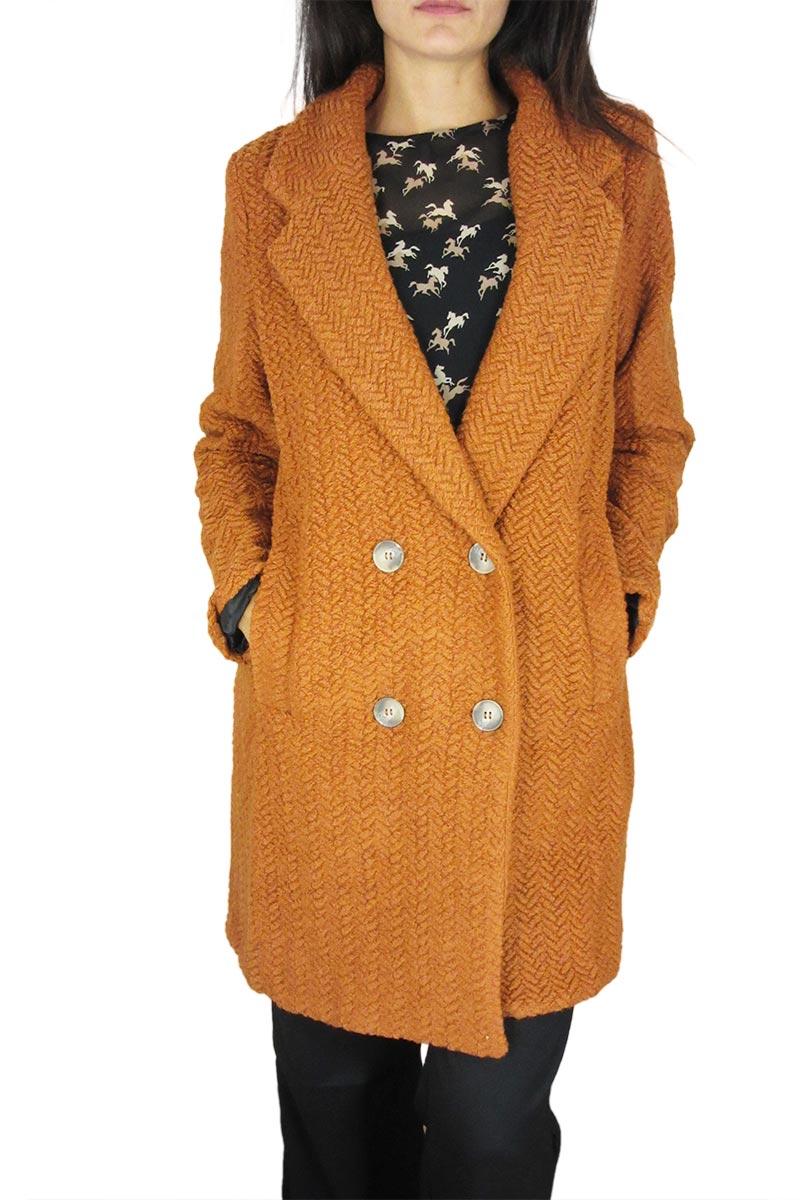 Mishmash γυναικείο σταυρωτό παλτό Bellyna σκούρο πορτοκαλί