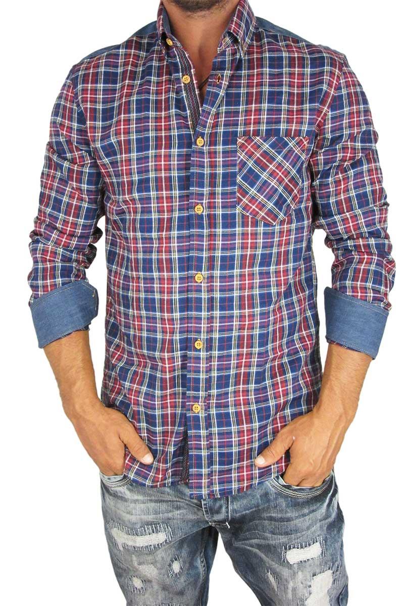 Missone ανδρικό πουκάμισο μπλε καρό με denim λεπτομέρειες