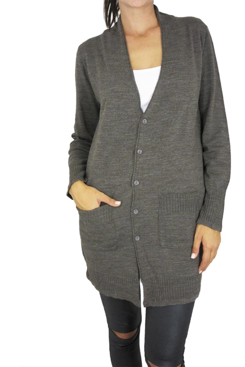 Agel Knitwear μακριά πλεκτή ζακέτα σε πούρο μελανζέ χρώμα γυναικεια     πλεκτά