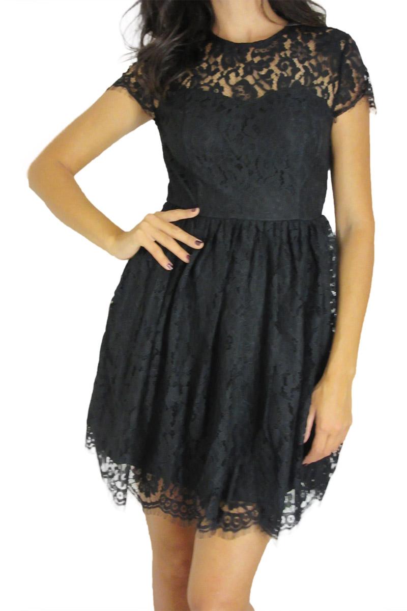Glamorous μαύρο εξώπλατο skater φόρεμα δαντέλα