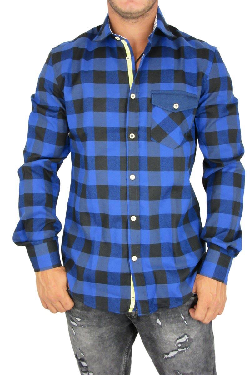 423bbfb329b7 Missone ανδρικό πουκάμισο καρό μπλε