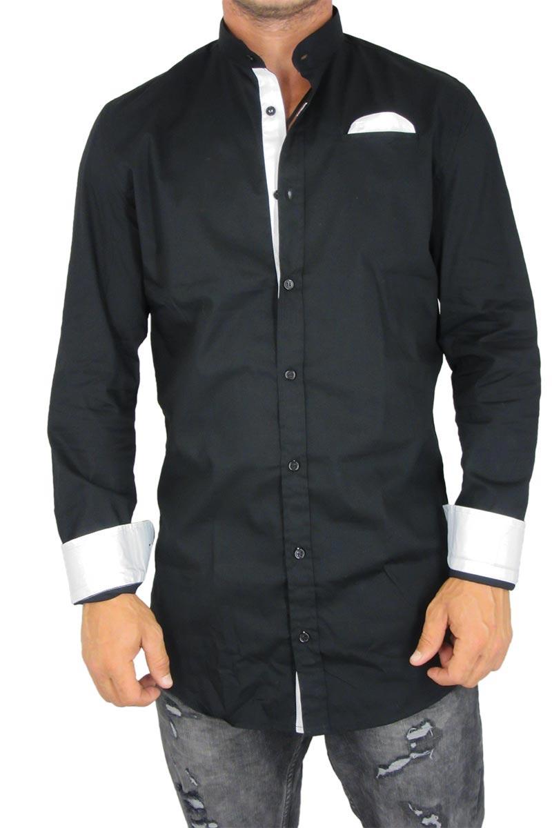 74b07617493 Missone ανδρικό πουκάμισο μαύρο με mao γιακά