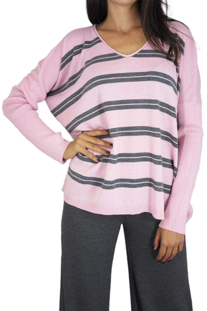 Agel Knitwear ριγέ πλεκτή μπλούζα ροζ με V-λαιμό