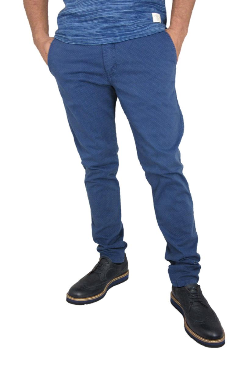 Ανδρικό slim fit chino παντελόνι μπλε με μικρό πουά