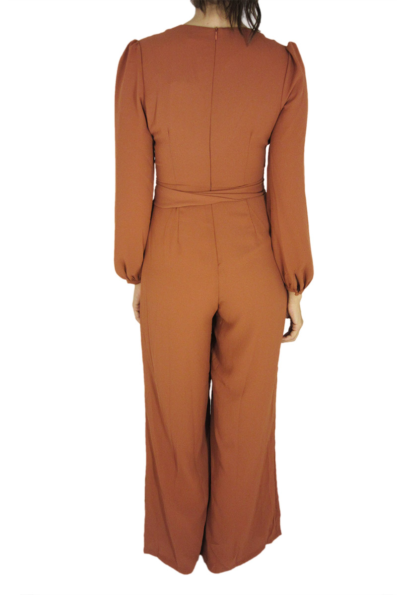 Glamorous tie waist jumpsuit in rust color