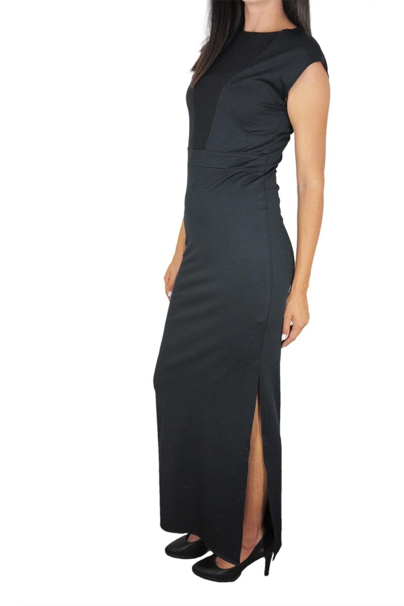 Tag Minorca αμάνικο maxi φόρεμα μαύρο με σκίσιμο στο πλάϊ