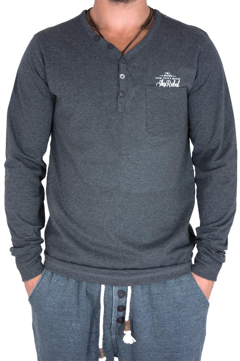 Ανδρική μακρυμάνικη μπλούζα με τσεπάκι σε ανθρακί μελανζέ - 20356-ch