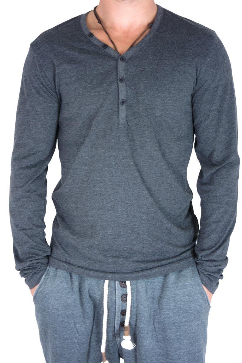 Ανδρική μακρυμάνικη μπλούζα με V σε ανθρακί μελανζέ - 20091-ch